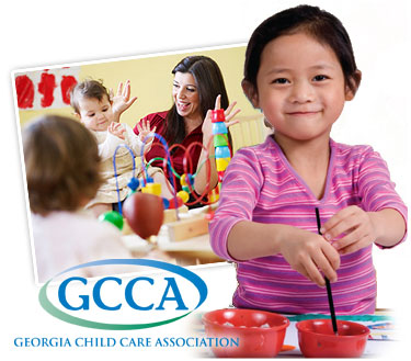 Little girl playing with the Georgia Child Care Association GCCA logo overlayed on top of picture
